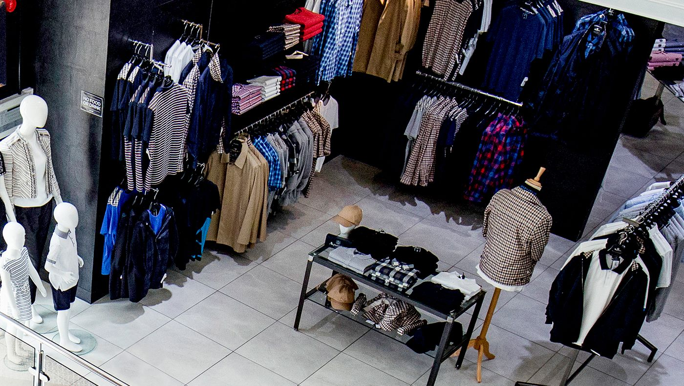 Overhead view of retail mens' store